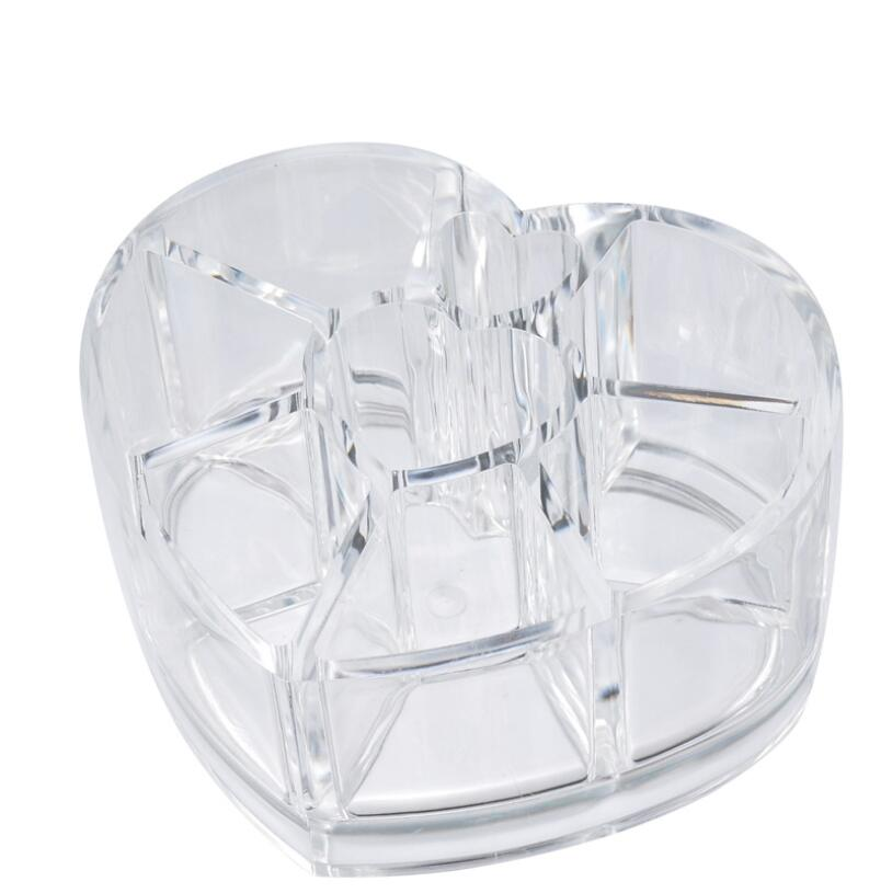 Unique Heart Shaped Cosmetic Box Organizer Acrylic Display Case Jewelry Gift Boxes For Lipstick Storage Holder