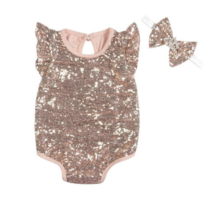 Toddler Baby Clothing Cotton Solid Color Sequin Glitter Newborn Baby Clothes Romper