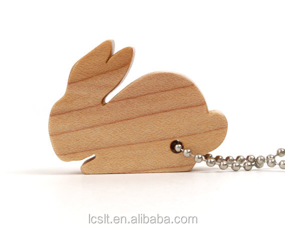promotional carved bamboo rabbit wooden key chain