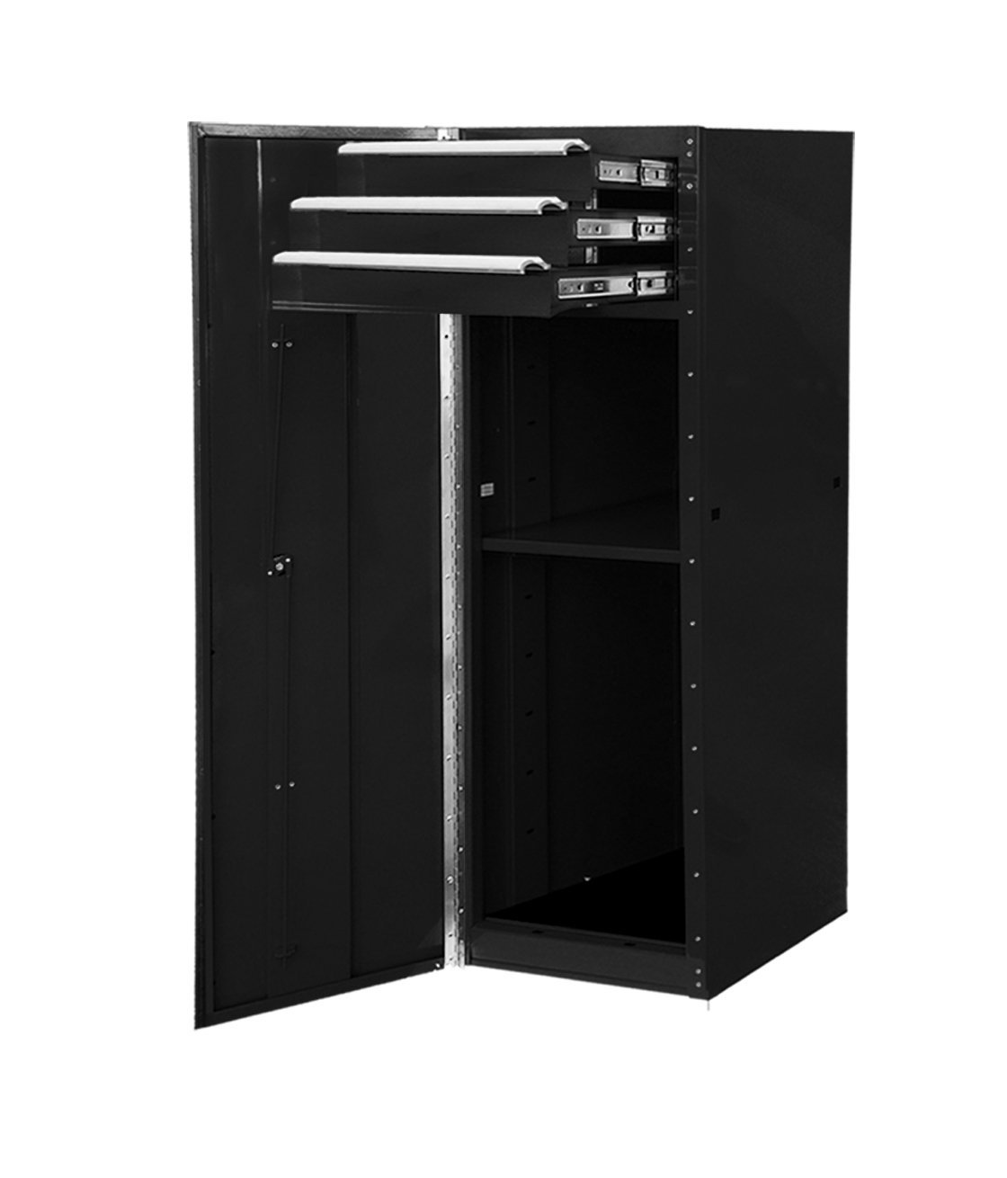 Extreme Tools EX1603SCBK 3-Drawer 1-Shelf Side Cabinet with Ball Bearing Slides, 16-Inch, Black High Gloss Powder Coat Finish
