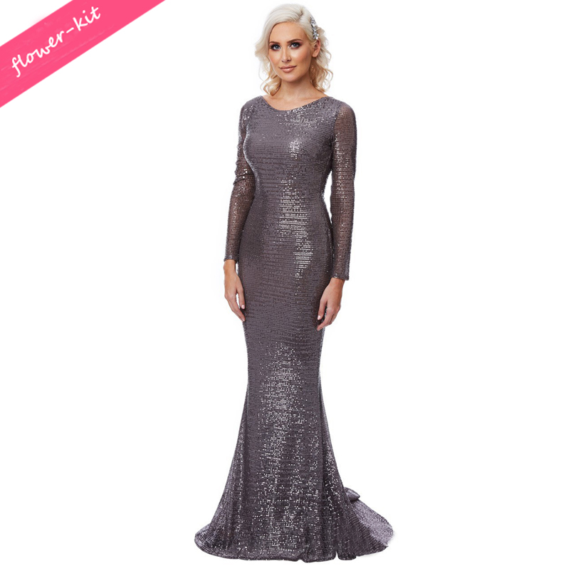 Backless Women Long Evening Dress, Floor Length Women Sequin Mermaid Maxi Long Sleeve Dress фото