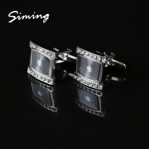 Personalized custom hot selling initial stainless steel cufflink crystal for men