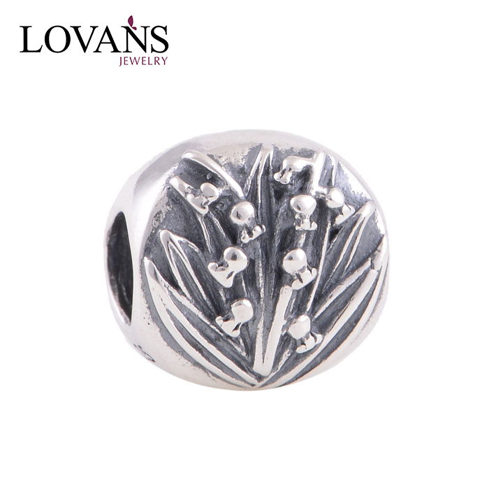 DIY Bracelet Antique Loose Beads Silver Plant Charms YZ247