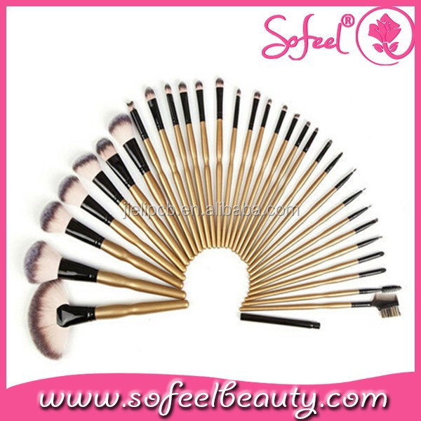 professional 32 piece makeup brush set with goat hair factory price for professional artist