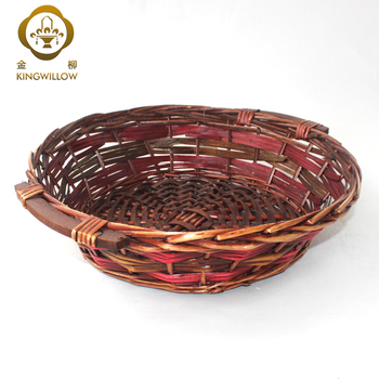 KINGWILLOW round wicker and wood chips storage basket with handle fruit basket