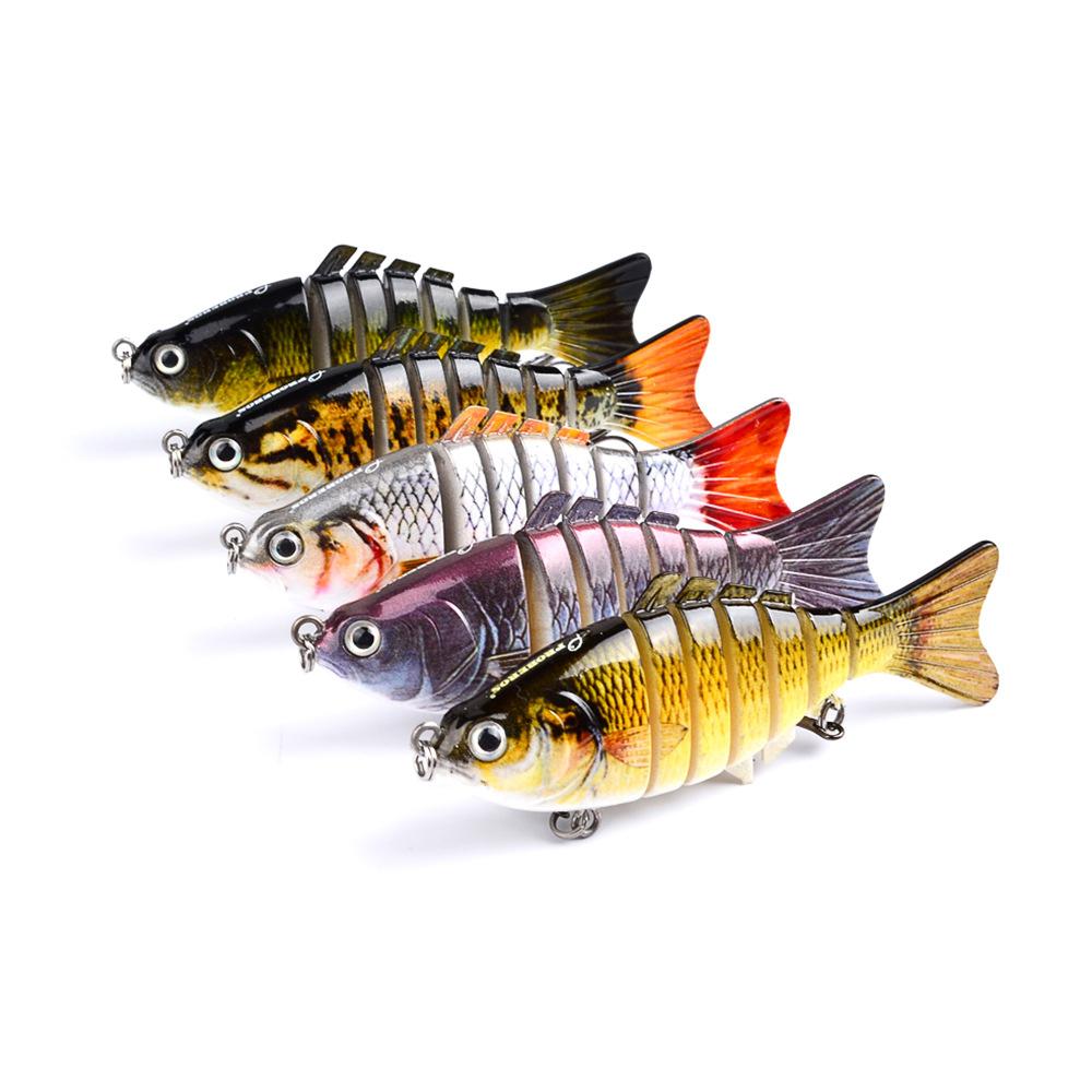 10cm/4 15.5g Bionic Multi Jointed Fishing Lure Lifelike Hard Bait Bass Perch Walleye Pike Muskie Roach Trout Swimbait, 5 colors