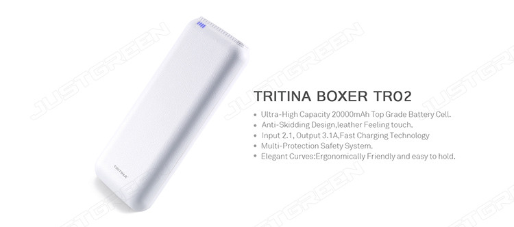Warehouse Tritina TR02 20000mah Power Bank Dual-Port External Battery Portable Charger with LED