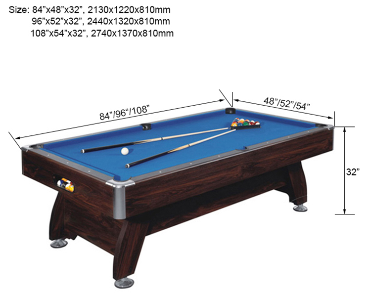 SZX 84'' Modern usa wooden  price of billiard table with leg levelers supplier china