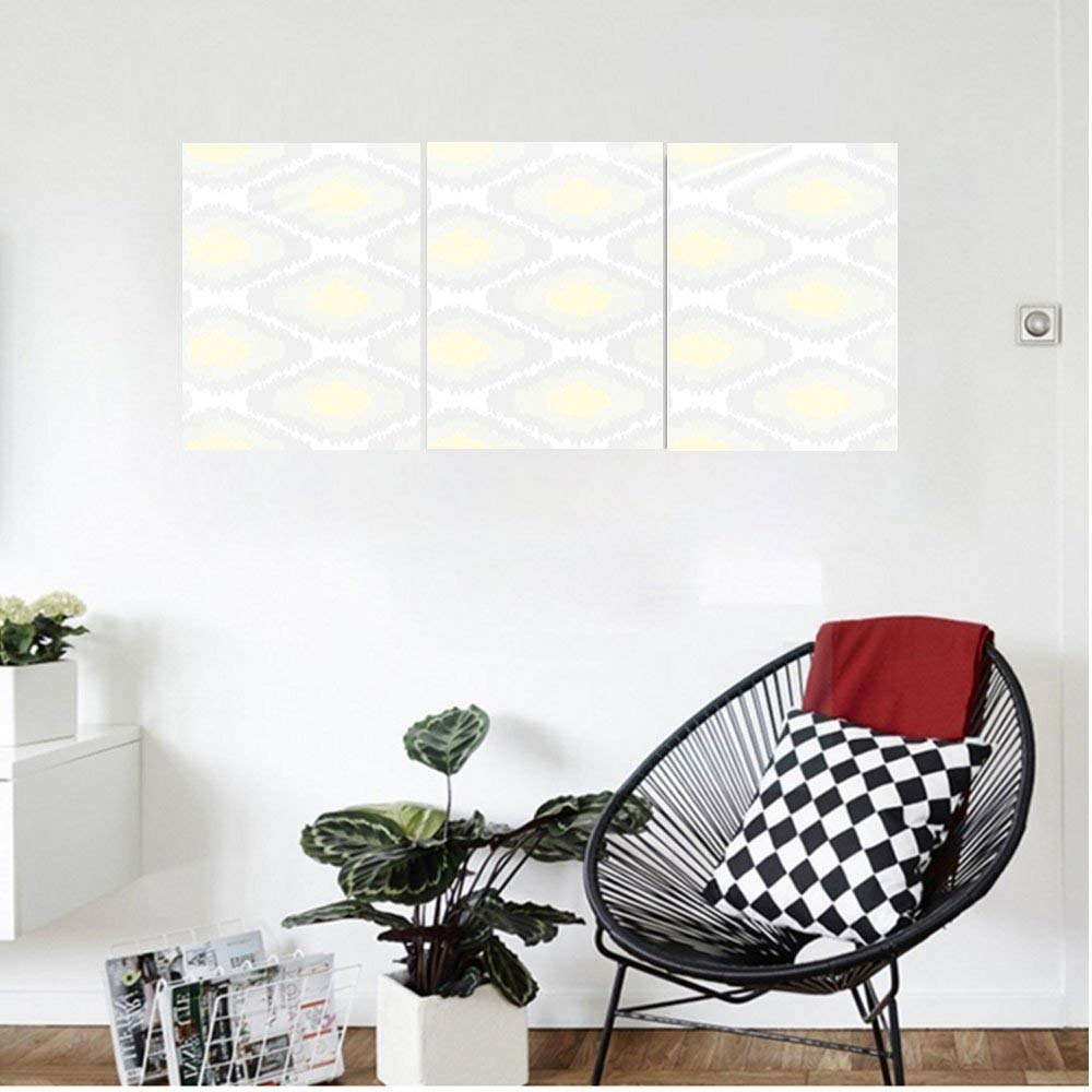 Liguo88 Custom canvas Ikat Decor Repeating Ikat Shapes Tied nto Bundles Old Form Of Textile Historical Tribal Decor Bedroom Living Room Decor Grey White Yellow