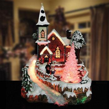 custom resin christmas village scene fibre optic led light up christmas decoration