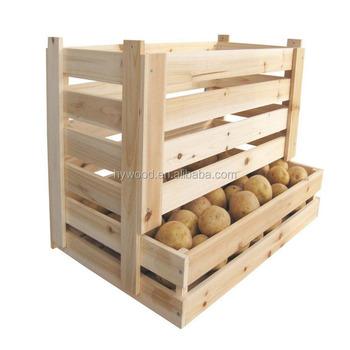 Potato Fruit Wood Crate Apple Onion Vegetable Storage Basket
