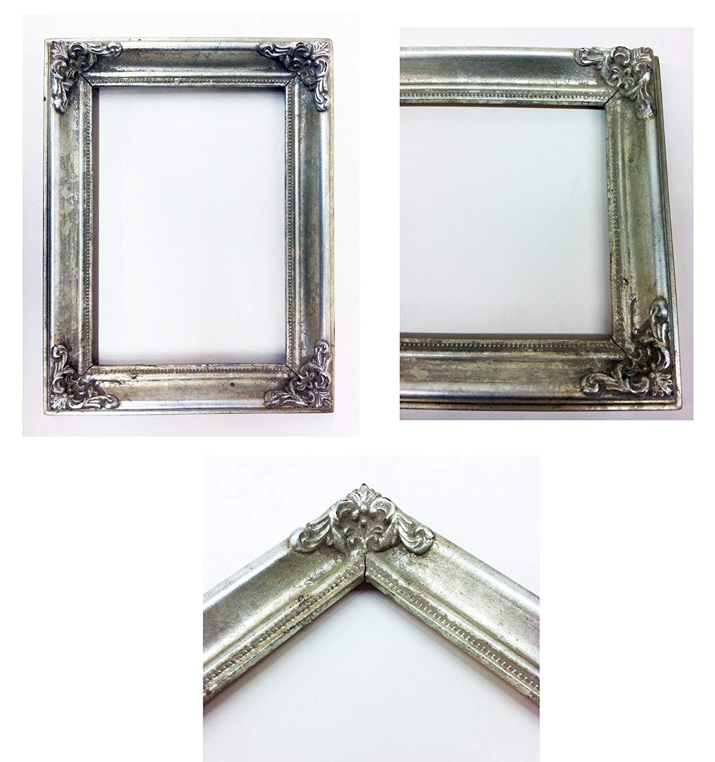 "Vintage Picture Frame Ornate Metallic Baroque Wooden Frames (5""x7"") Shabby Chic (Silver)"