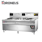 Restaurant Kitchen Chinese Electric Induction 2 Wok 2 Burner Commercial Cooking Range