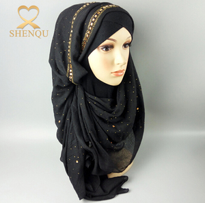 Cotton Voile Muslim Head Scarves Hotfix Rhinestone Stylish hijab with diamond Scarf Shawl hijab scarf dubai