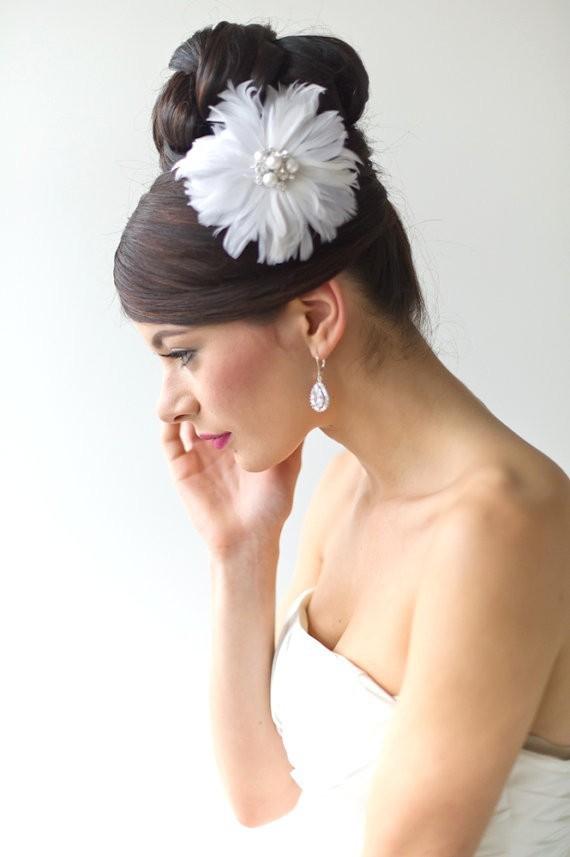 2015 Unique Fashion Headband Floral White Feather Hair ...