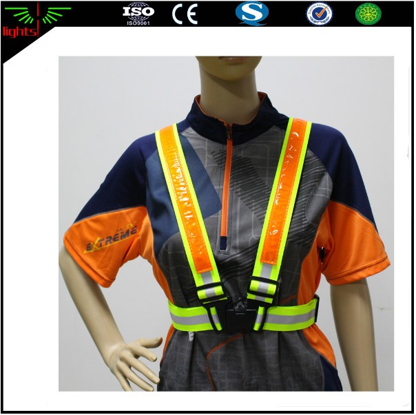 blue lighting reflective safety running traffic belt tape strap shirts v vest with led lights for outdoor construction workers