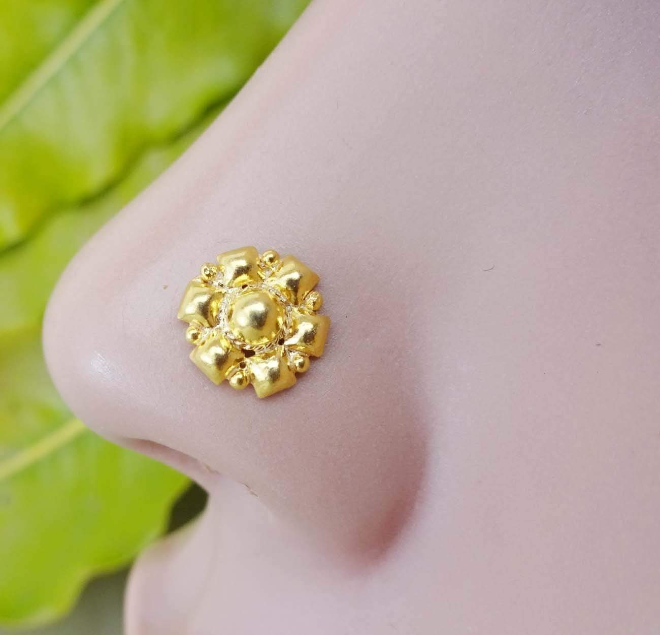 Buy Flower Gold Nose Stud Indian Nose Screw Gold Nose Pin Gold