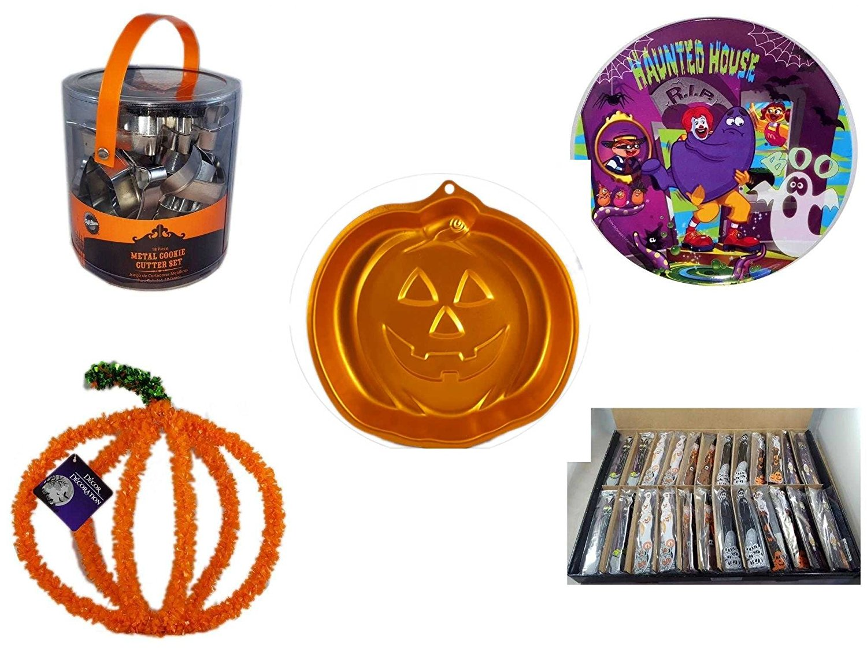 Halloween Fun Gift Bundle [5 piece] - Wilton Halloween Metal Cookie 18-Piece Cutter Set - McDonald's Haunted House, RIP, Boo Halloween Plate - Wilton Iridescents Jack-O-Lantern Pan - Halloween Pumpk
