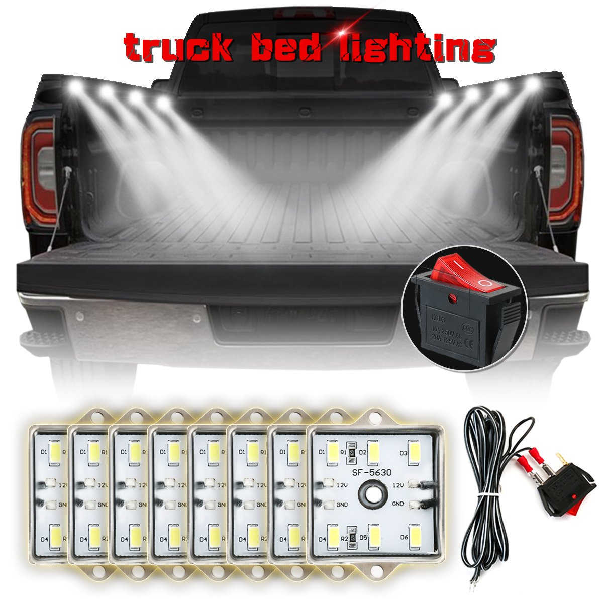AMBOTHER 8Pcs LED Lights for Truck Bed White Pickup Bed Light with 48 Super Bright LEDs, Waterproof Universal for Dodge Chevrolet Ford Jeep Pickup RV SUV GMC