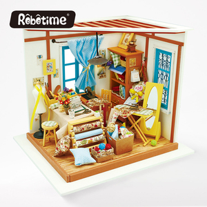 Robotime DG101 Lisa's Tailor DIY miniature house diy wood puzzle house miniature diy kit