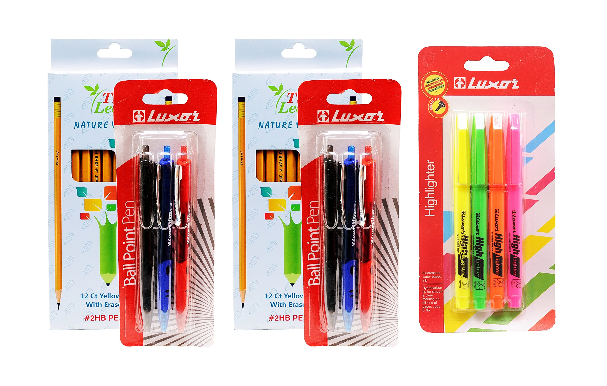 24-Pack Wood-Cased Pencils, #2 HB, Yellow, Eraser Tip, Super-Bonded Black Lead - 6-Pack Ballpoint Pens, Colors: Black, Blue, Red - 4-Pack Highlighters, Chisel Tip (24-Pencils, 6-Pens, 4-Highlighters)