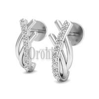 Daily Wear 925 Sterling Silver Women Jewelry Making Supplies Earrings Fancy White Gold Plated Earrings