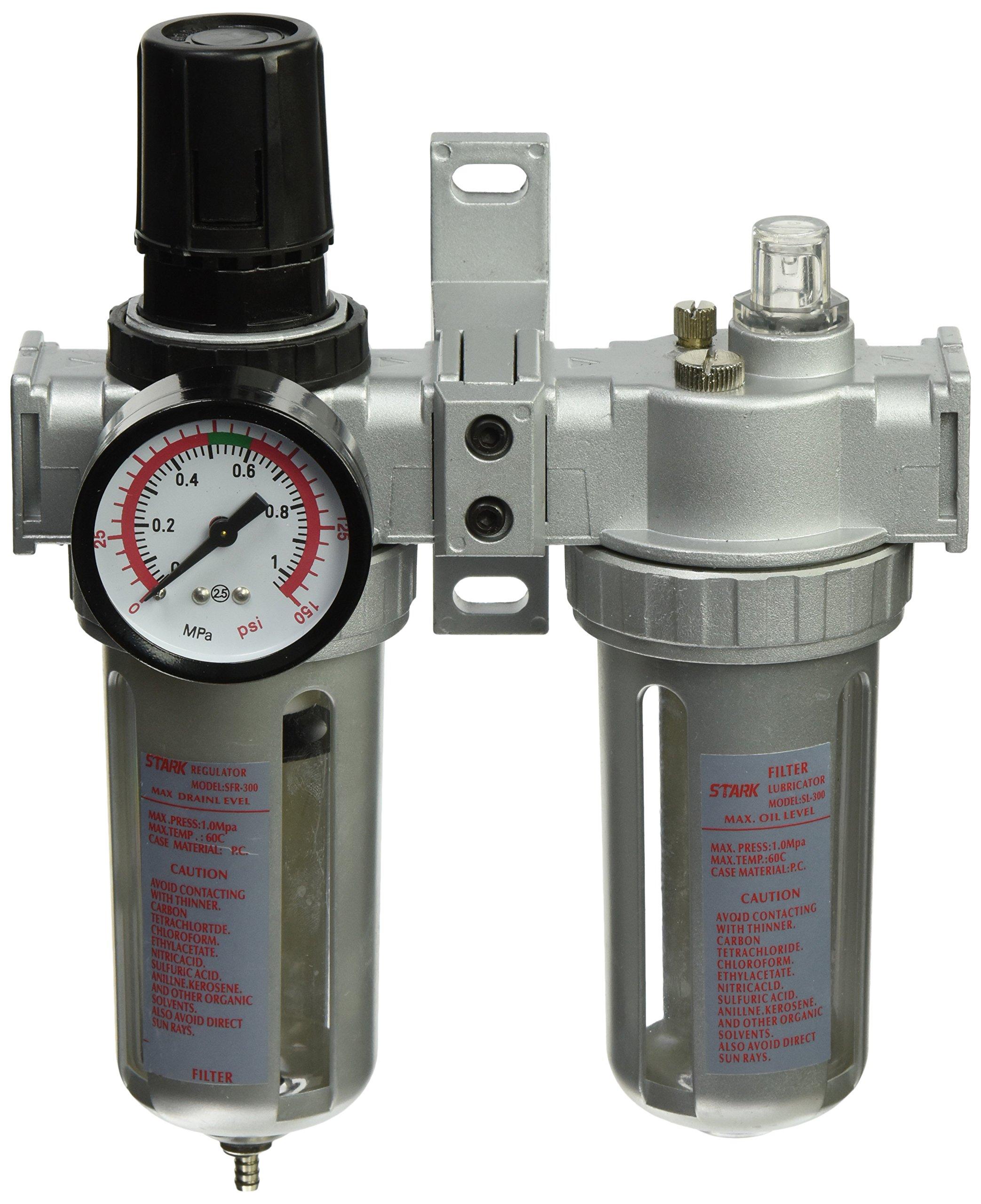 """3 In 1 Twin Air Filter Pressure Regulator Gauge Kit 3/8"""" Water/Oil Trap Separator"""
