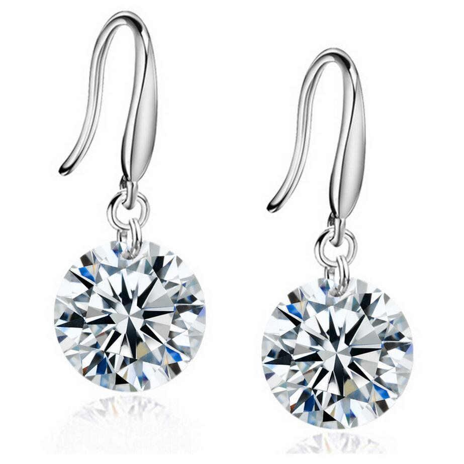 Fashion <strong>Jewelry</strong> for Women 8mm Crystal Earrings Top Quality Zircon Earring Drop Crystal Earrings