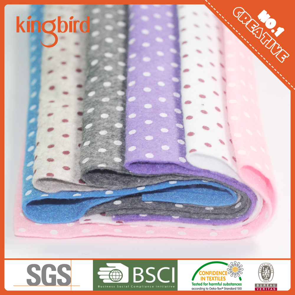 Wholesale Bulk Dot Spot Printed Sweet Color Nonwoven Fabric Industrial Felt