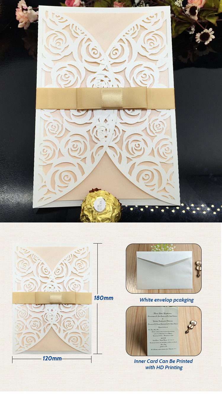 Elegant Luxury Flower Printed Save The Date Wedding Invitation Cards With Envelopes