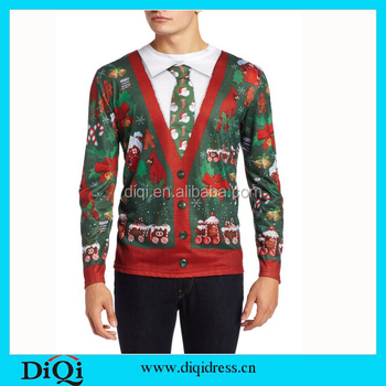 11a63565b Customized christmas clothing men's ugly cardigan with tie christmas t  shirts for men