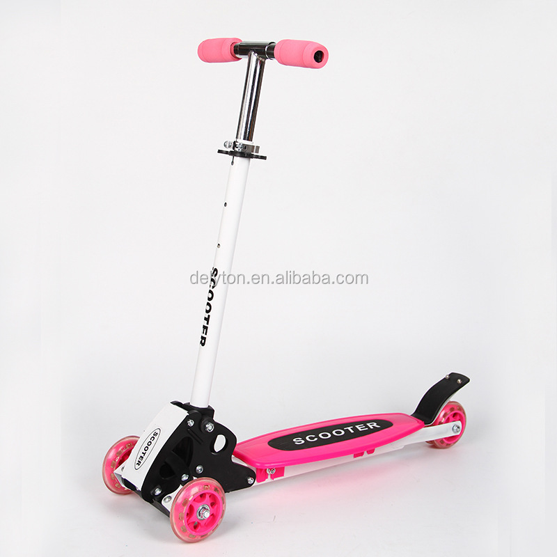 Foldable Aluminum 4 wheels mini PU child kick walking scooter