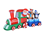 inflatable christmas train santa claus drives a train with deer and penguin inside for Christmas decoration