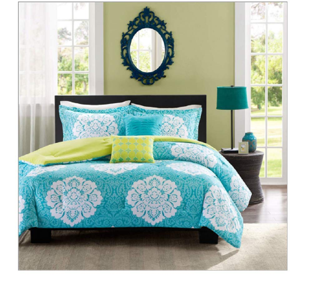 CHOOSEandBUY King Size 5-Piece Floral Damask Comforter Set in Teal Blue White and Green Colors 100 Percent Polyester