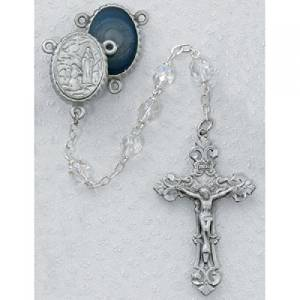 Our Lady of Lourdes Catholic Rosary Beads - This Specialty Rosary has 6mm Crystal Aurora Borealis Beads with a New England Pewter Crucifix and a New England Pewter Our Lady of Lourdes Centerpiece with Our Lady of Lourdes Water in the Back of the Centerpiece. This Beautiful Rosary Comes Packaged in