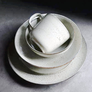 Light grey color antique blackspot pattern ceramic dining used japanese stoneware dinnerware