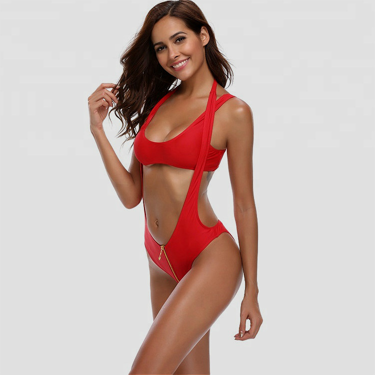 Custom Red Zipper Halter Swimsuit for Lady Private Label Young Girl Swimwear Manufacturer