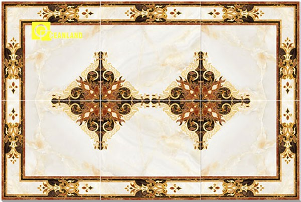 polished golden crystal porcelain floor flower tiles