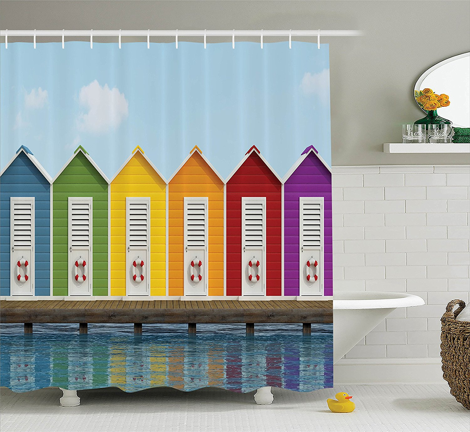 House Decor Shower Curtain Set By Ambesonne Image Of Colorful Beach Cabins On An Old