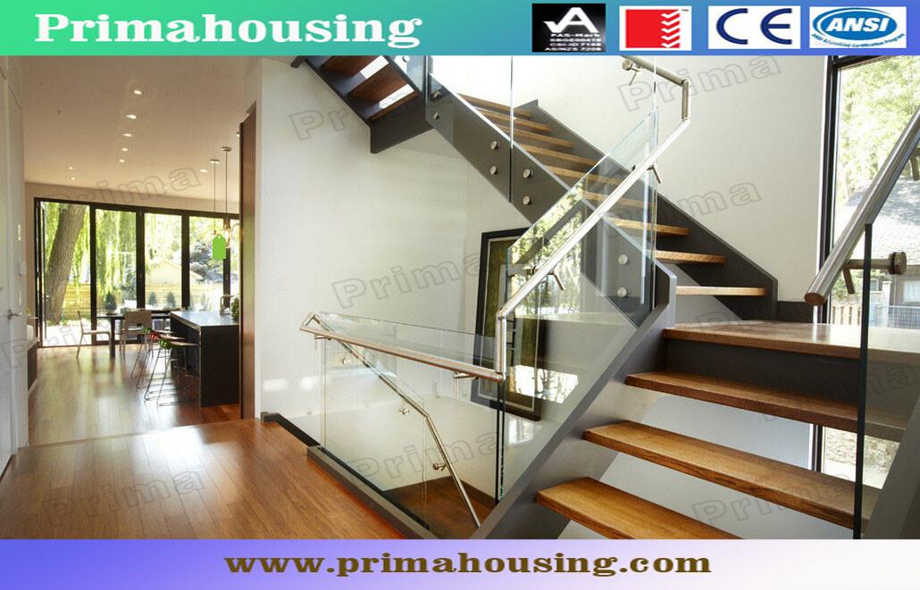 Foshan Factory Tempered Glass Wood U Shape Stairs House