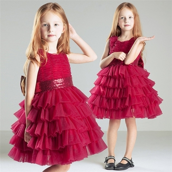32e1334029eb High Quality Girls Christmas Party Wear Dress Top Sale Girls Layered Red  Gown For Children