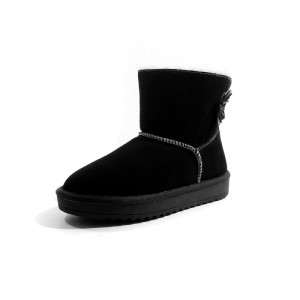 2018 Winter boots for women Genuine Leather chestnut shoes fluffy knit top Sheepskin wool snow boots