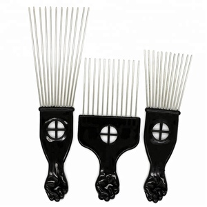 3 Size African Hair Comb Plastic Handle Metal Teeth Afro Pick Comb
