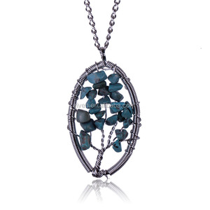 ST0165 Newest Tree Of Life Natural gravel handmade oval turquoise pendant necklace