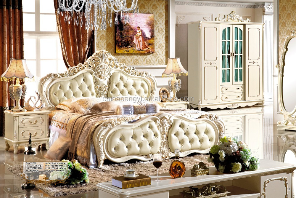 Luxurious European Rococo Wooden Bedroom Set Palace Royal Hand