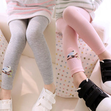 Baby Kids Girls Cotton Pants Embroidery Bird Warm Stretchy Leggings Trousers 2015 Free Shipping