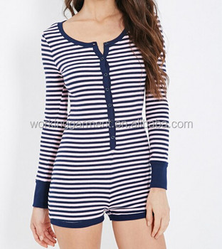 67ac38973686 OEM Women  s Long Sleeve Striped Thermal Knit Adult Romper Pajama Onesie