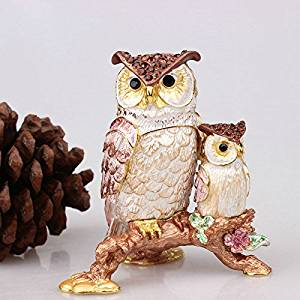 Get Quotations · Pewter Owl Trinket Collectibles Boxes Fashion Alloy Metal  Owl Shape Animal Trinket Box Jewelry Box (