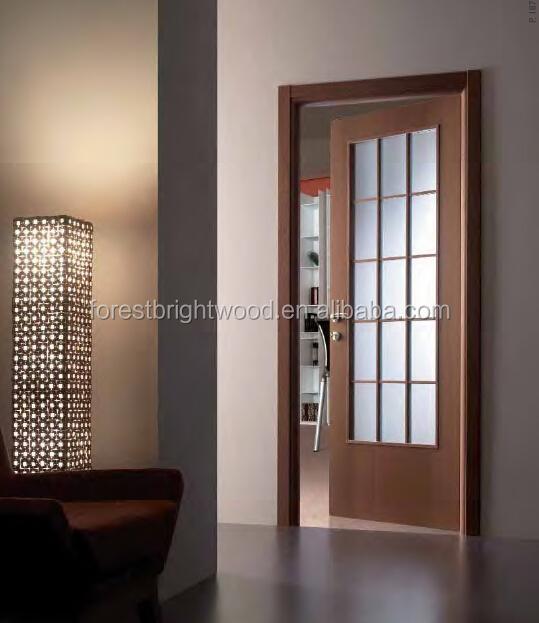 زجاج عادي Wood نوم والأبواب نماذج نافذة الباب الخشبي
