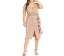 <span class=keywords><strong>Vrouwen</strong></span> <span class=keywords><strong>Plus</strong></span> <span class=keywords><strong>Size</strong></span> Jurk Bloemen Patronen Cross Over Diepe V-hals Sexy Party Dress Drape Bandage Taille Split Midi Elegant een Stuk